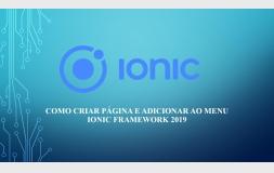Como criar um aplicativo - criando uma página e adicionando no menu - Ionic Framework 2019 parte 03